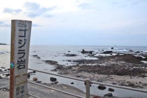 離れてみたゴジラ岩